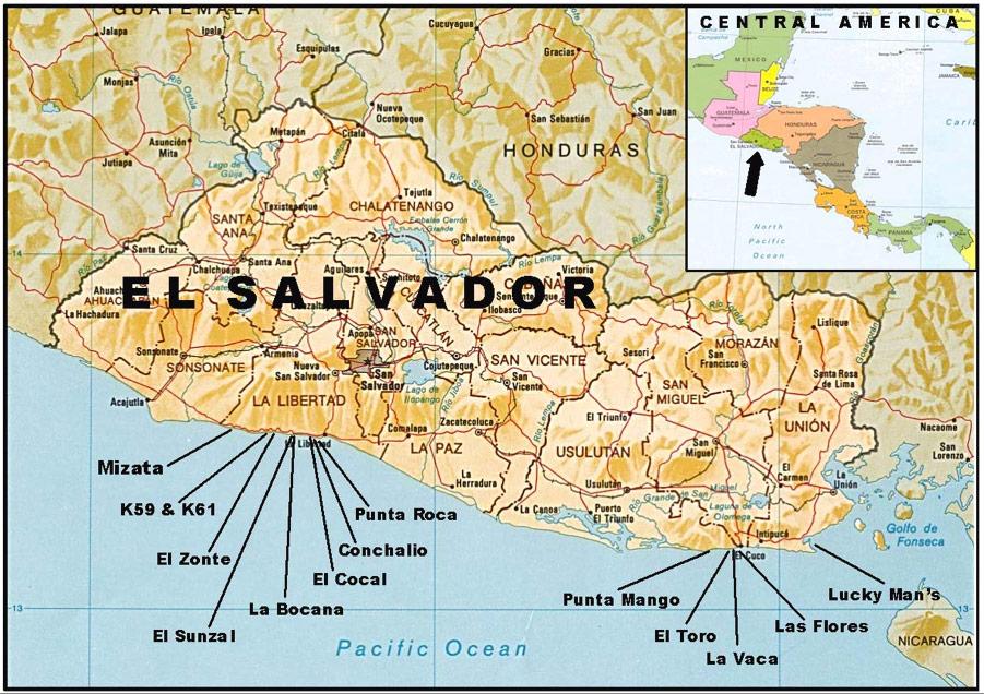 el salvador surf spot map